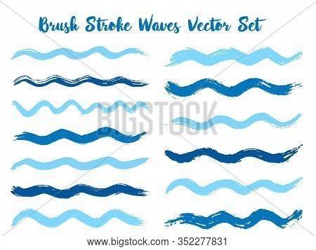 Decorative Brush Stroke Waves Vector Set. Hand Drawn Blue Cyan Indigo Brushstrokes, Ink Splashes, Wa