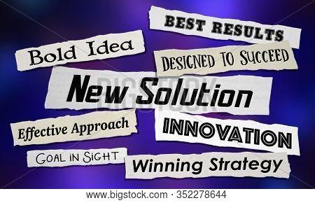 New Solution Headlines Announcement Problem Solved 3d Illustration