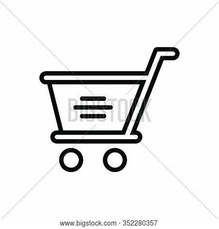 Black Line Icon For Shopping-cart Shopping Cart Trolly Purchase Commercial Shop Marketing Customer B