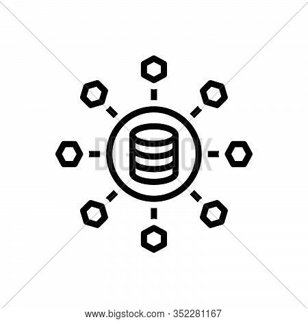 Black Line Icon For Sharing Allocation Distribution Partaking Data Link Database