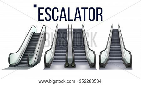 Escalator Stairway Electronic Equipment Set Vector. Collection Of Different Type Escalator For Trans
