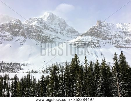 An Incredible View Of A Dark Green Forest In The Foreground And Snow Covered Mountains Peaks In The