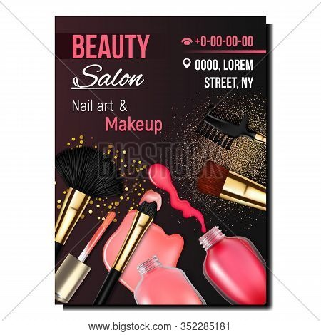 Beauty Salon Nail Art And Makeup Banner Vector. Bottle Of Pink And Red Nail Polish Product And Brush