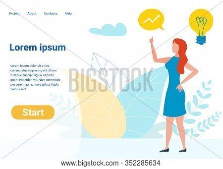 Project Management Vector Landing Page Template. Woman Having Idea, Inspiration Making Improvement S