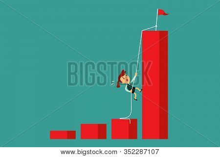 Determined Businesswoman Climbing Rope To The Top Of Highest Bar Graph. Ambition And Determination B