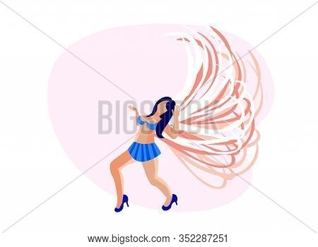 Brazilian Samba Dancer Woman Wearing Festival Costume With Pink Feather Wings Isolated On White Back