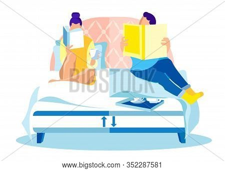 Young Loving Couple Spending Time Together In Bedroom, Reading Bedside Books Before Falling Asleep,