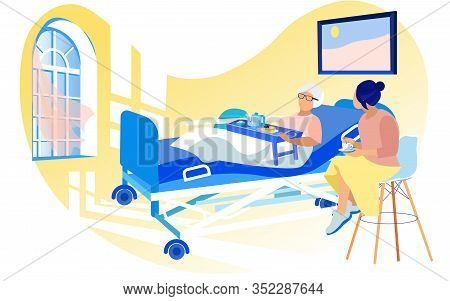 Young Woman Visiting Infirm, Diseased Old Lady, Her Grandmother Or Senior Friend, Lying In Hospital