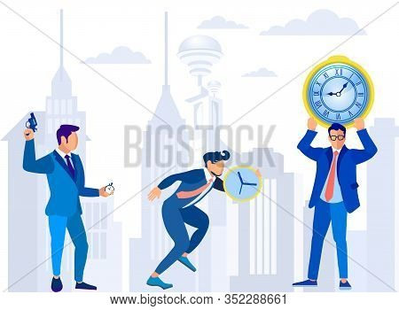 Cartoon Businessmen Characters With Starting Pistol, Clock, Stopwatch. Time Management And Deadline