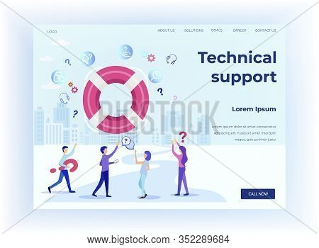 Landing Page Offers Technical Support And Customer Service Online. Metaphor Design With People Carto