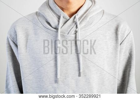 Young Person Wear Gray Hoodie, Sweatshirt Mockup, Isolated On White Background