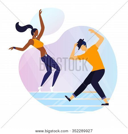 Modern Freestyle, Hip Hop Flat Vector Illustration. Young Dancers In Casual Clothes Cartoon Characte
