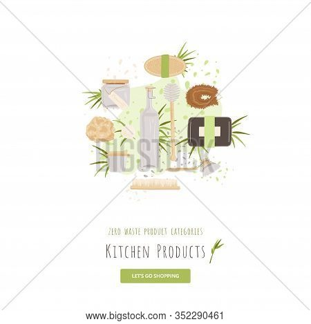Vector Set Of Kitchen, Household And House Cleaning Zero Waste Products. Lunch Box, Glass Package, R
