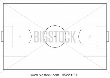 Football Pitch. Outline. Vector Illustration Isolated On White Background