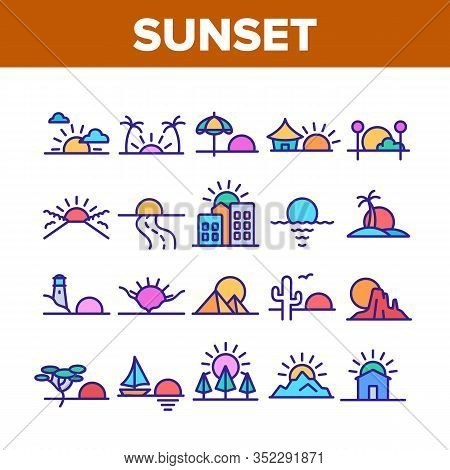 Sunset Or Sunrise Collection Icons Set Vector. Sunset Over Of Ocean And Sea, Road And City, Beach An
