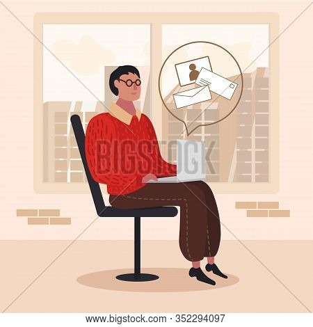 Cartoon Man Freelancer Or Office Worker Sitting With Laptop And Checking New Incoming E-mail Or Send