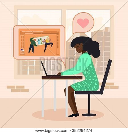 Afro American Woman Work On Laptop In Office. Lady Satisfied With Analytic Results And Successful Di