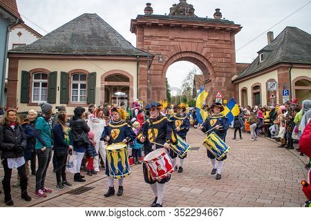 Neckargemuend, Germany - Feb. 22, 2020: Traditional Carnival Parade In Neckargemünd In The Palatine