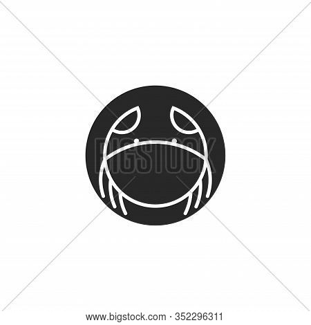 Logo Crab Of Round Shape, Crustacean Silhouette In Thin Lines Minimalist Style, Emblem For The Menu