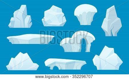 Iceberg Cartoon. Antarctic Ice White Rocks Winter Landscape Snow Vector Set. Ice Rock, Iceberg In An