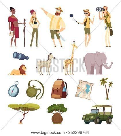 Travel Safari. African Wildlife Adventure Elements Jungle Animals Cars Compass Bag Pack. Illustratio