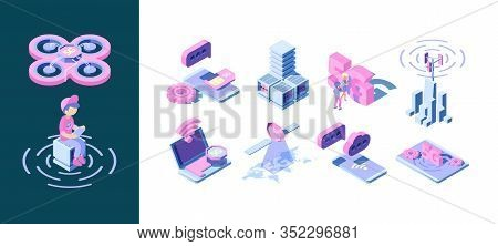 5g Technology. Business Concept Of Smart Wireless Telecommunication Broadcasting Waves Vector Innova