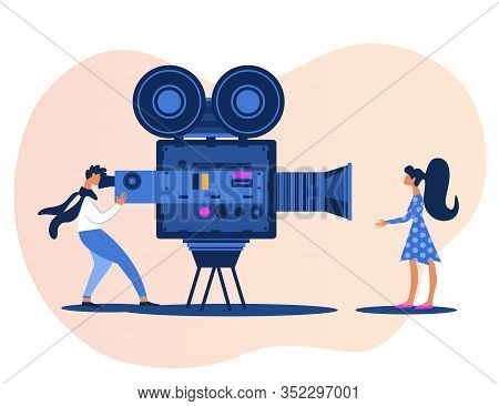 Cinematography, Film Entertainment Industry And Cinema Making Idea With Videographer Using Recording