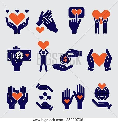 Volunteers Icon. Hands Hearts Donation Charity Natural Symbols Of Goods Vector People Volunteers. Il