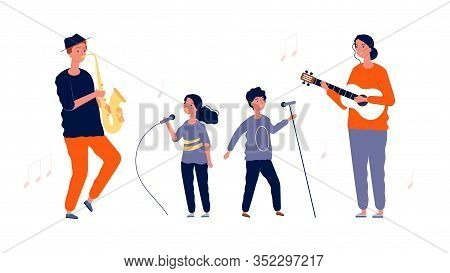 Children Singers. Music And Vocal Lessons For Children. Artists Girl Boy With Microphones And Adult