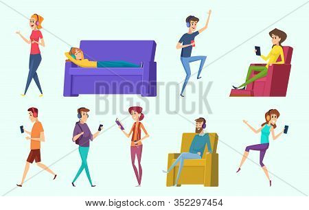 Relaxing Characters. Peoples Listening Music In Headphones Laying Male And Female Persons Vector. Ch