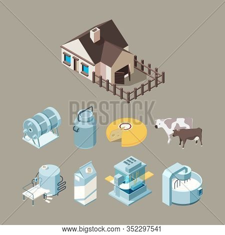 Milk Food Factory. Dairy Healthy Farm Products Cheese Milk Yogurt Production Technology Vector Isome