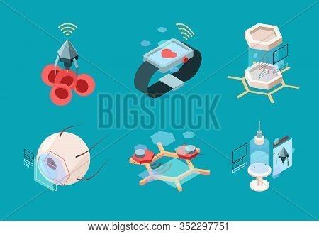 Nanotechnology Isometric. Bio Modern Medical Systems Nanorobot Human Implant Organs Research Machine