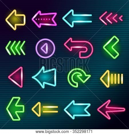 Neon Arrows. Glow Lighting Direction Hotel Arrow Signs Night Outside Shining Advertizing Elements Ve