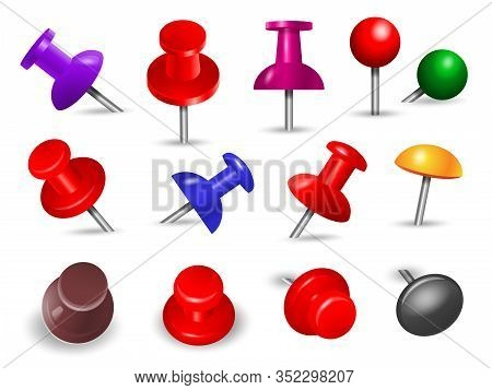 Red Thumbtack. Office Supplies For Paper Note Push And Attachments Objects Organize Angle Mount Pin