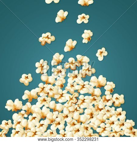 Popcorn Falling. Stack Of White Snacks For Movie Time Souffles Corns Vector Illustration. Popcorn Sn