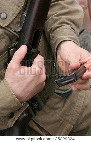 A World War 2 M-1 Carbine Rifle and Ammo