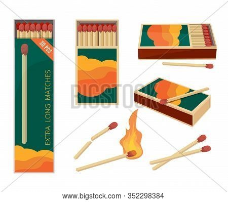 Matches Cartoon. Fire Symbols Dangerous Wooden Matches Safety Matchstick In Box Burning Flame Vector