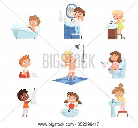 Washing Kids. Brushing Teeth Toilet Hygiene Soap For Childrens Daily Routine Vector Set. Illustratio