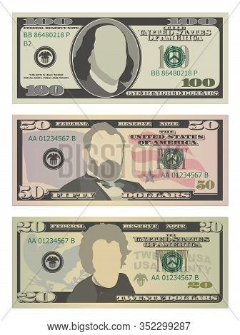 Set Of One Hundred Dollars, Fifty Dollars And Twenty Dollar Bills. 100, 50 And 20 Us Dollars Banknot