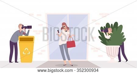 Paparazzi With Cameras Photographing Famous Elegant Beautiful Woman Flat Vector Illustration