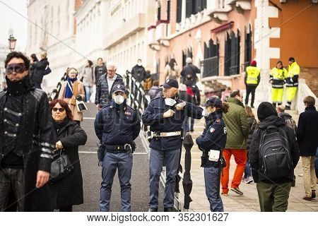 23 February 2020, Venice, Italy. Italian Police With Surgical Mask In The Streets.