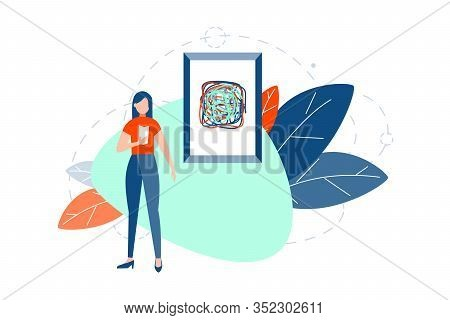 Modern Abstract Art, Exhibition Concept. Young Woman Or Girl Stands Near Abstract Painting Or Design
