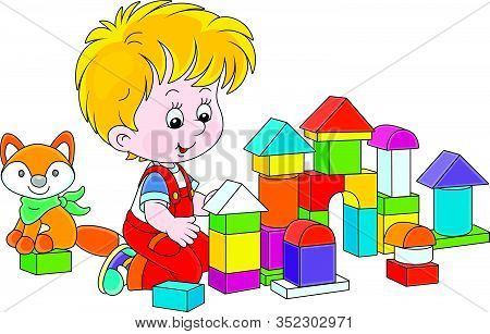 Little Boy Smiling, Playing With Color Bricks And Constructing A Toy Fortress For A Game, Vector Car