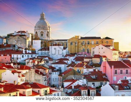 Portugal, Lisboa - Old City Alfama At Sunset