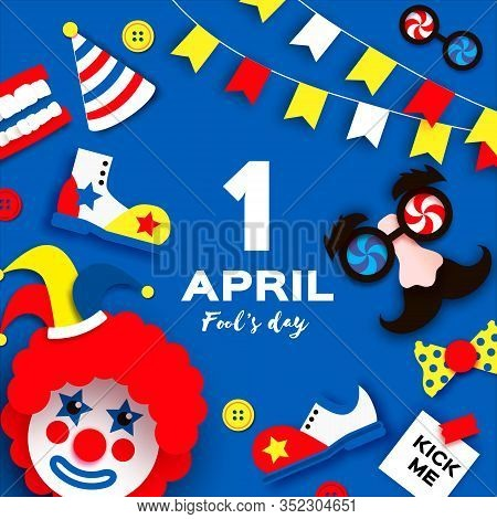 1 April Fools Day. Funny Crazy Mask Glasses. Jesper Hat. Kick Me Prank Paper Sticker. Funny Clown, R