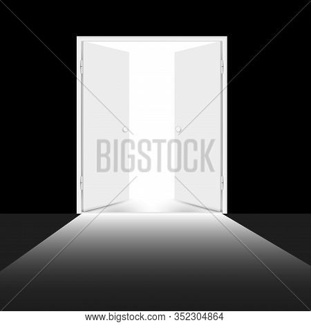 Open Double Door With Light. White Doors Leading From Darkness To Light. Vector Illustration.