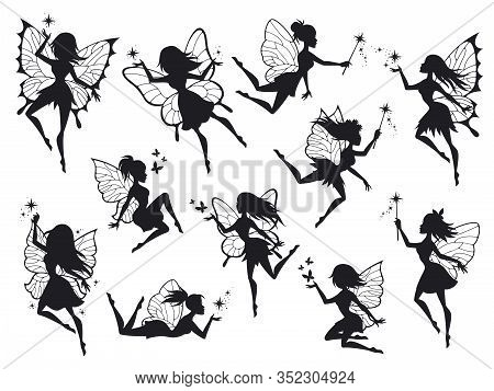 Fairy Silhouettes. Magical Fairies With Wings, Mythological Winged Flying Fairytale Characters Beaut