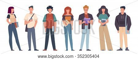 Students. Group Of Students In Casual Wear Standing With Books, Backpacks And Smartphones, Education