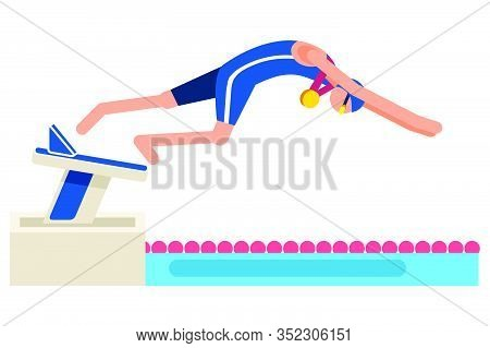Male Person Celebrate Summer Games Athletics Medal. Sportive People Celebrating Diving Team. Diver A