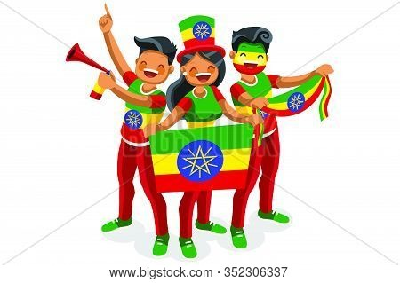 Crowd Of Persons Celebrate National Day Of Ethiopia With A Flag. Ethiopian People Celebrating A Foot